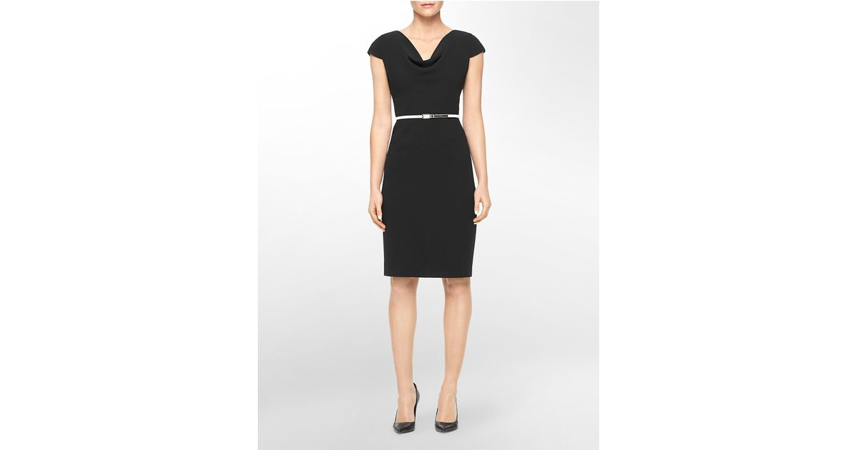 Calvin Klein White Label Cowl Neck Belted Sheath Dress In