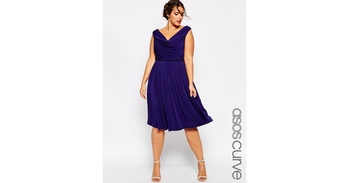 Asos Curve Wedding Drape Cowl Neck Pleated Midi Dress In