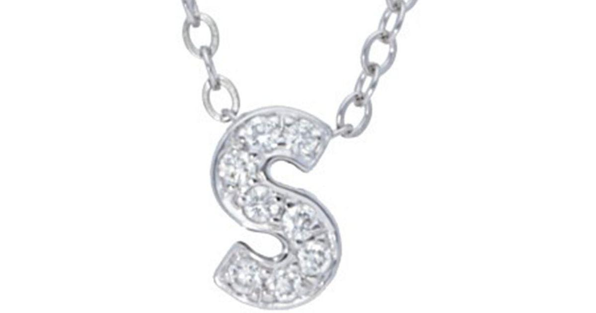Nephora 14k Diamond Block Initial A-z Necklace in Metallic