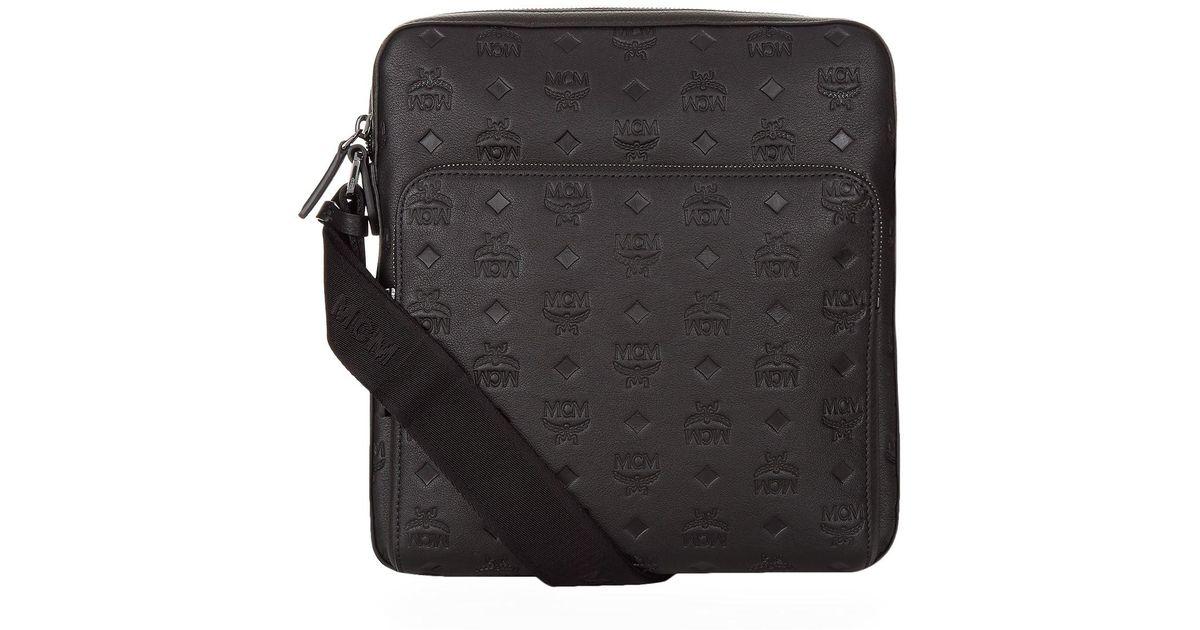 mcm black embossed leather small messenger bag for men