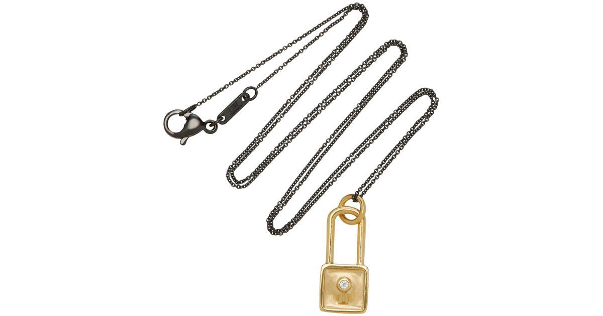 Monica Rich Kosann 18k Gold Diamond Square Lock Charm
