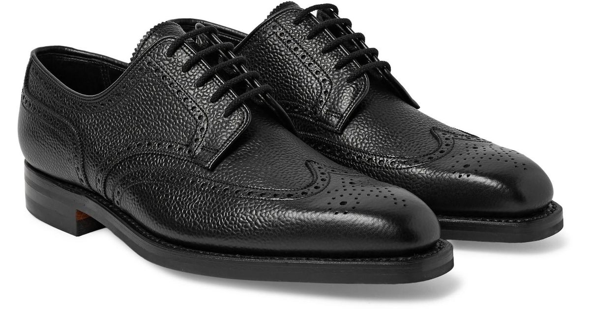 George Cleverley Henry Pebble-grain Leather Wingtip Brogues in Black for Men - Save 40% - Lyst