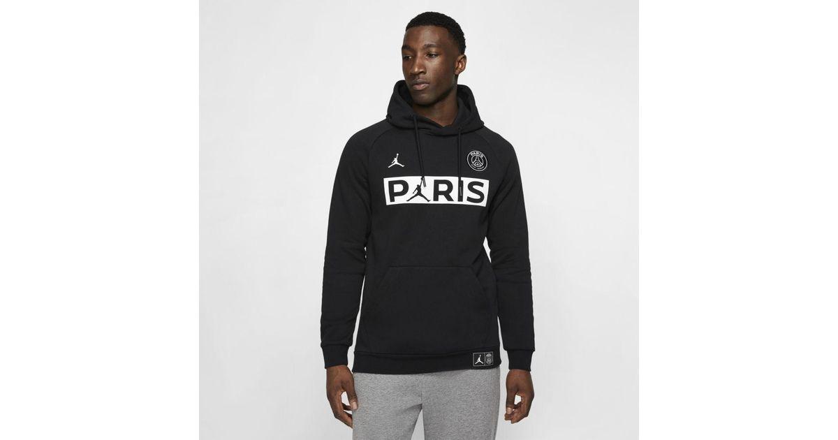 nike black jordan paris saint germain fleece pullover hoodie for men