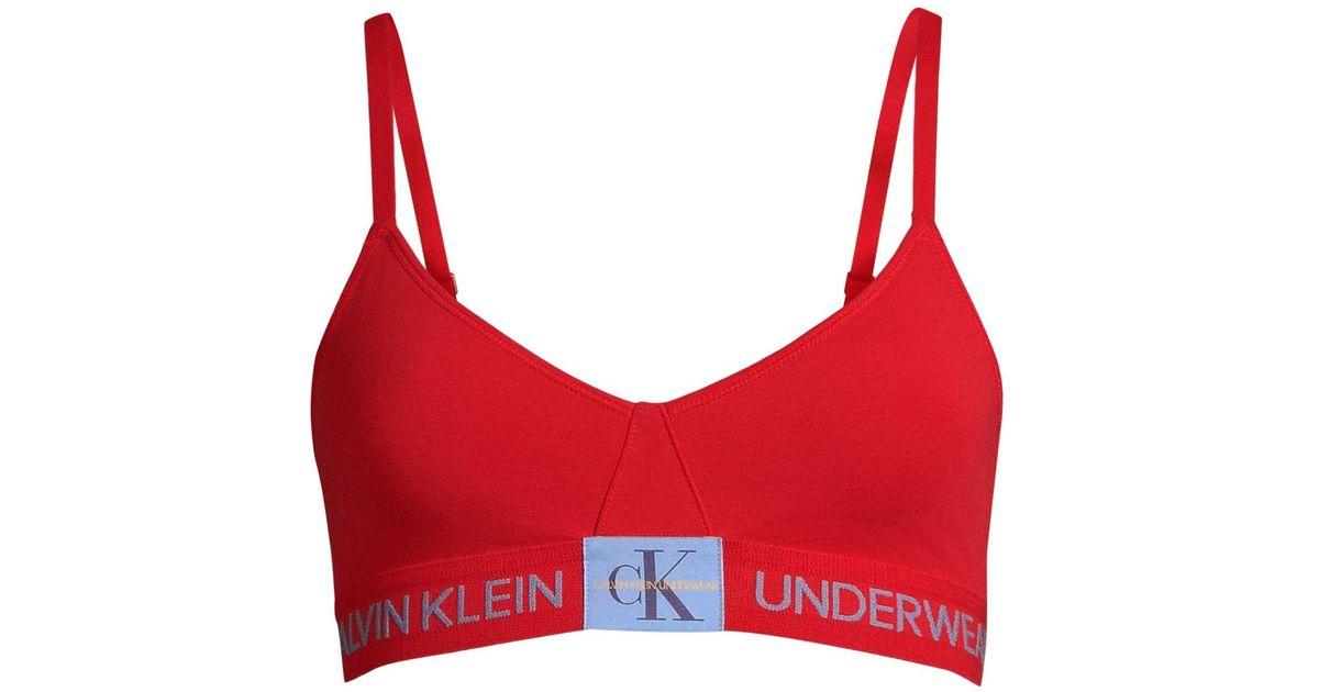 Calvin Klein Cotton Monogram Unlined Triangle Bralette in Red - Lyst