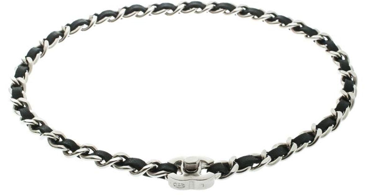 Chanel Cc Black Leather Woven Chain Silver Tone Turn Lock