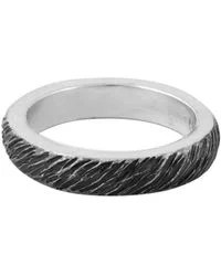 silver slashed texture stackable ring