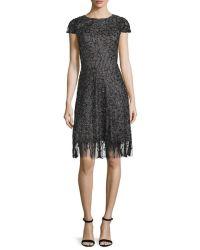Ml monique lhuillier Cap-sleeve Embellished Cocktail Dress ...