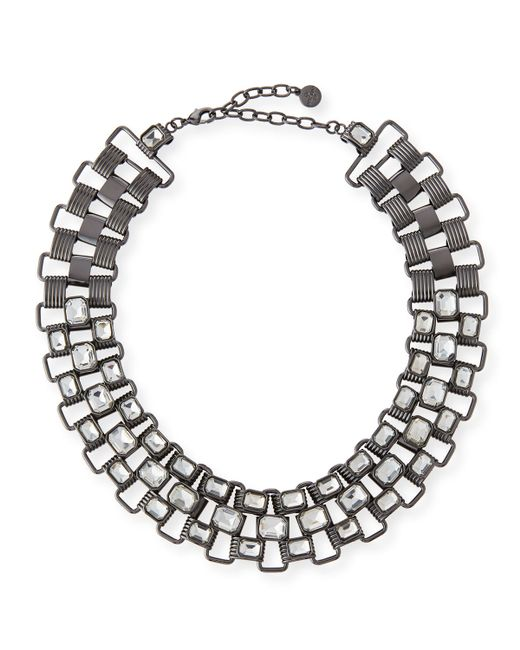 R.j. graziano Statement Collar Necklace in Silver (GUN