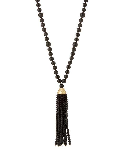 Kenneth jay lane Long Beaded Tassel Necklace in Black