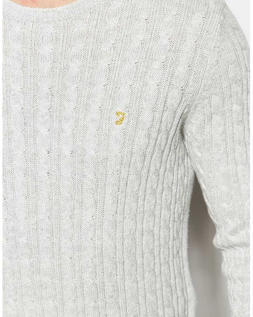 Farah Jumper With Cable Knit Regular Fit in Gray for Men