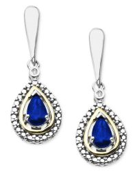 Macy's 14k Gold And Sterling Silver Earrings, Gemstone (3 ...