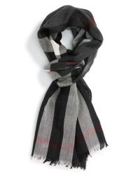 Burberry Check Wool & Cashmere Scarf in Gray for Men | Lyst