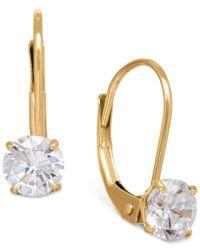 Macy's Solitaire Cubic Zirconia Hoop Earrings In 14k ...