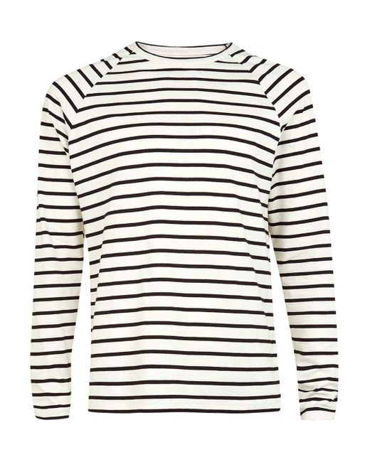 Topman Off White And Black Stripe Long Sleeve T-shirt in