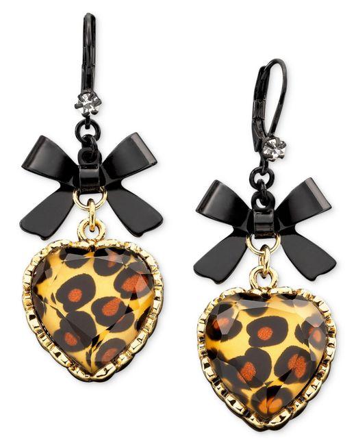Betsey johnson Leopard Heart Bow Drop Earrings in Animal