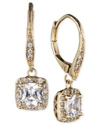 Anne klein Gold-tone Pave Crystal Drop Earrings in Gold | Lyst