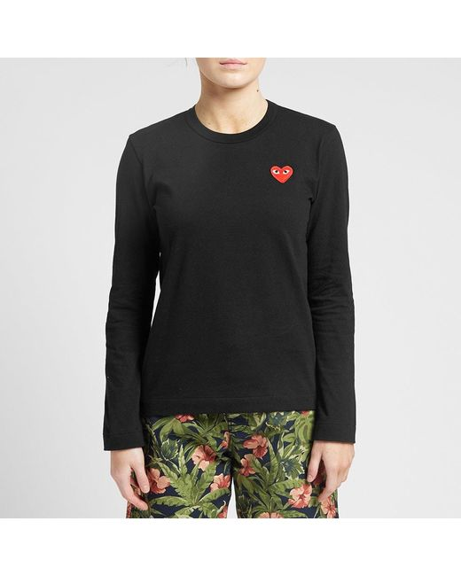 COMME DES GARÇONS PLAY Cotton Comme Des Garcons Play Women's Long Sleeve Basic Logo Tee in Black - Save 17% - Lyst