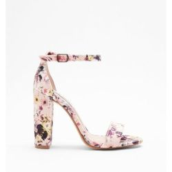 e0a064247ef Lyst Express Steve Madden Floral Carrson Heeled Sandals In Pink