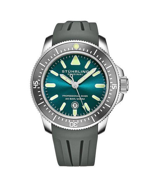 Stuhrling Original Rubber Aquadiver Quartz Green Dial Mens Watch for Men - Lyst