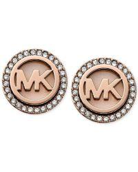 Michael kors Rose Gold-tone Mk Logo Disc Earrings - Macy's ...