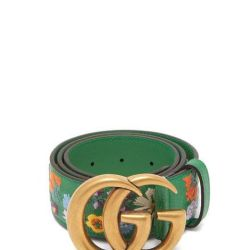 63d4ee50e03 Lyst Gucci Floral Embroidered Gg Logo Leather Belt In Green