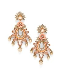 Marchesa Floral Crystal Chandelier Earrings - Blush/ Gold ...