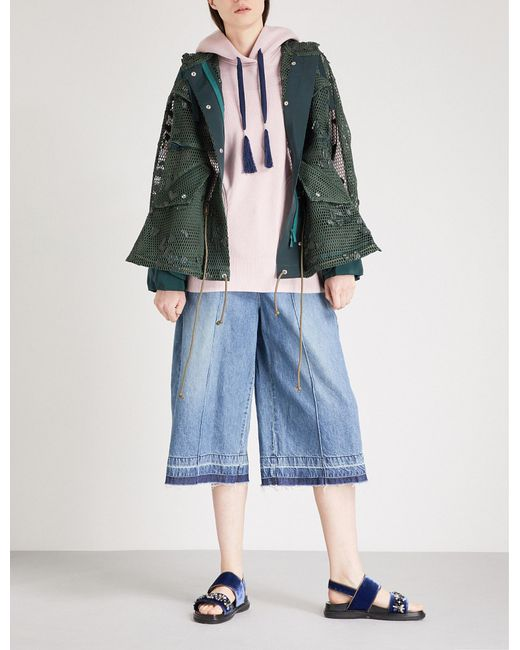 Lyst Sacai Heart Embroidered Hooded Mesh Parka Jacket In
