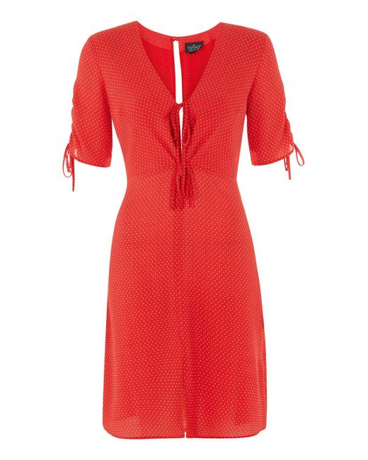 Topshop Tall Red Spot Mini Tea Dress In Red Lyst