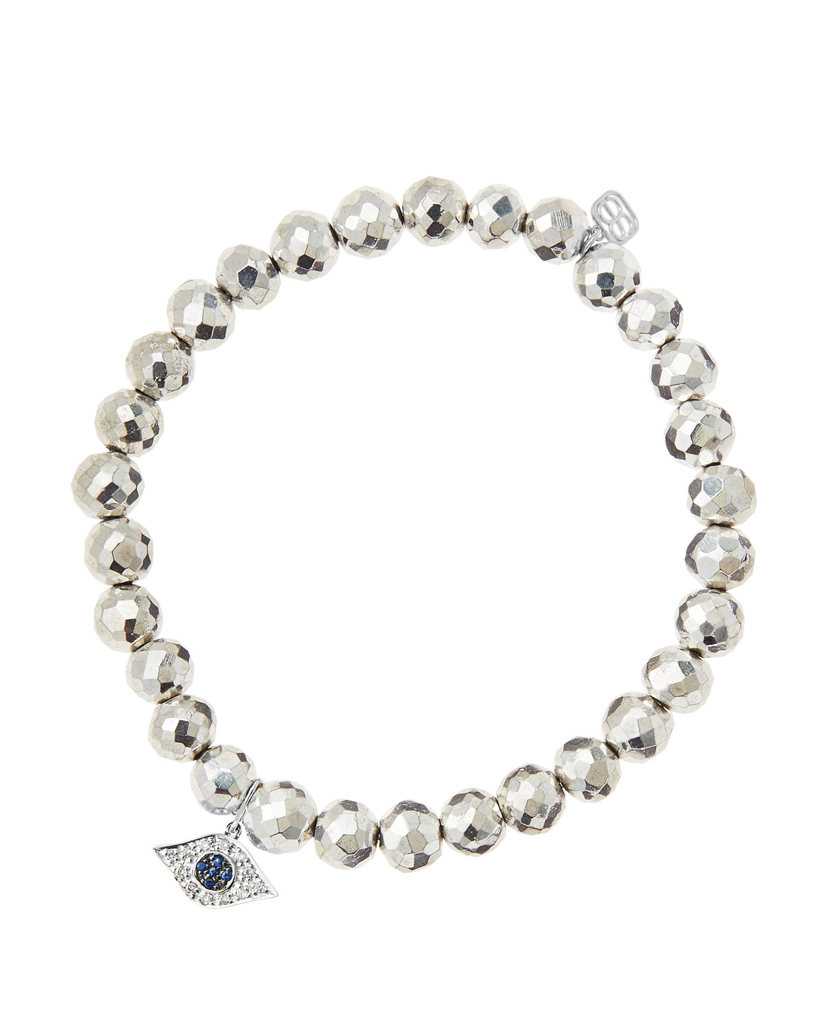 Sydney Evan 6mm Faceted Silver Pyrite Beaded Bracelet With