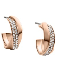 Michael Kors Rose Goldtone Crystal Semihoop Earrings in