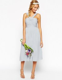 Lyst - Asos Wedding Midi Dress With Halter Neck Detail in Blue