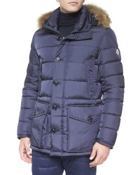 Moncler Cluny Nylon Puffer Jacket With Fur Hood in Blue | Lyst