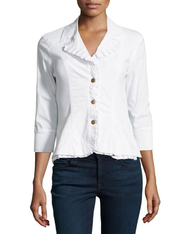 Lyst - Xcvi Eloise Ruffle-trim Blazer Jacket In White