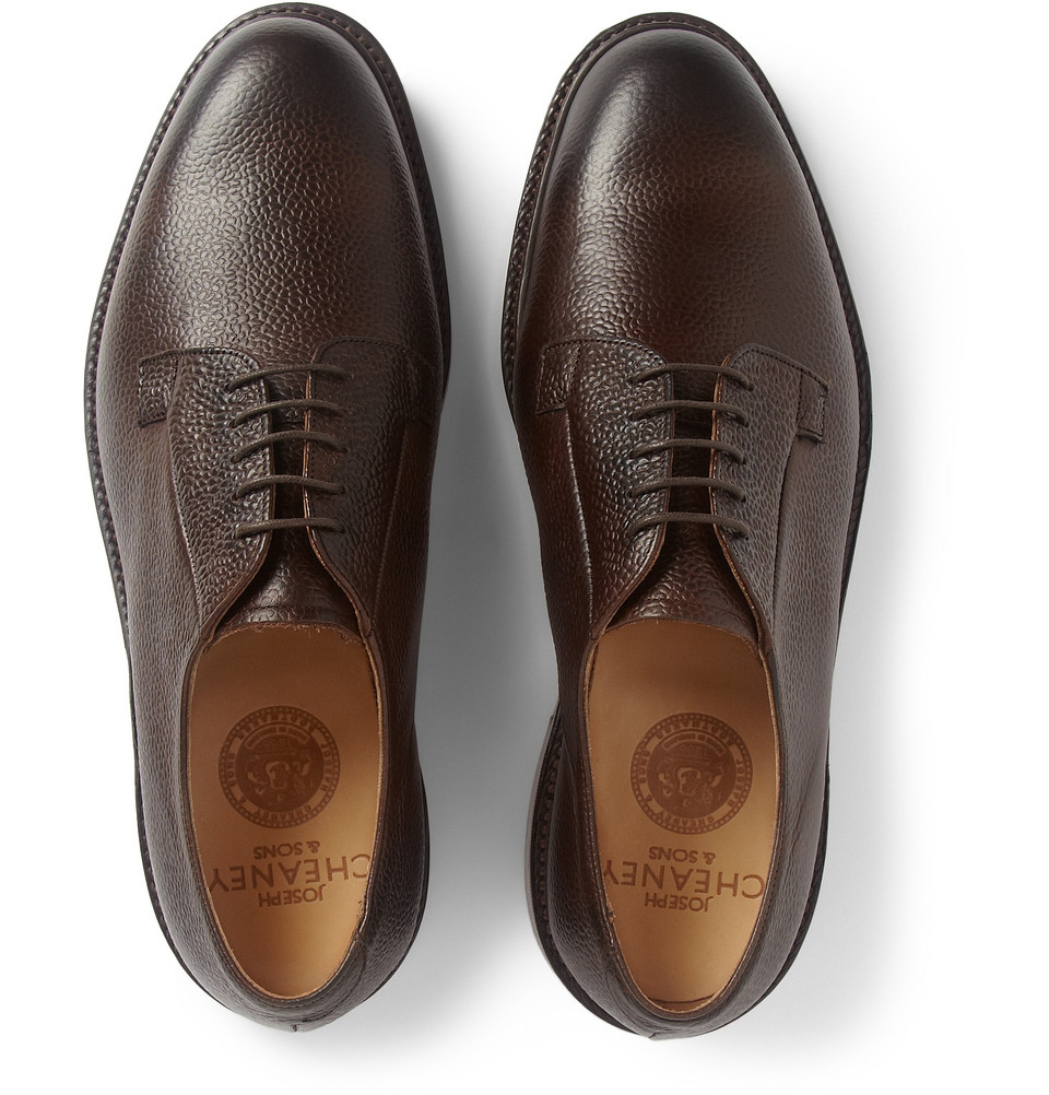 Cheaney Deal Pebble-Grain Leather Derby Shoes in Brown for Men - Lyst