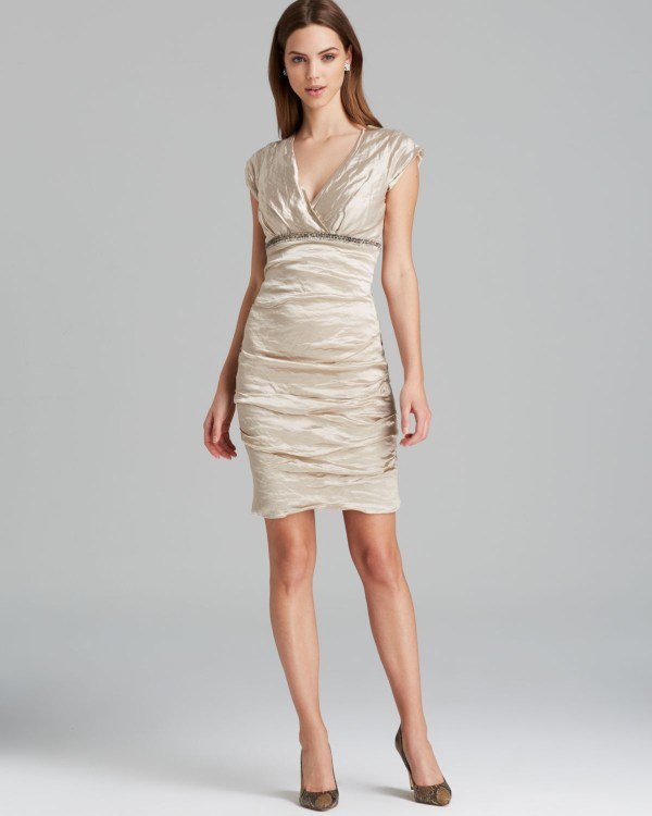 Nicole Miller Dress Cap Sleeve Techno Metal Sequin In Champagne Natural - Lyst