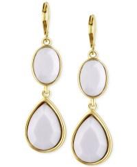T tahari Gold-tone White Stone Double Drop Earrings in ...