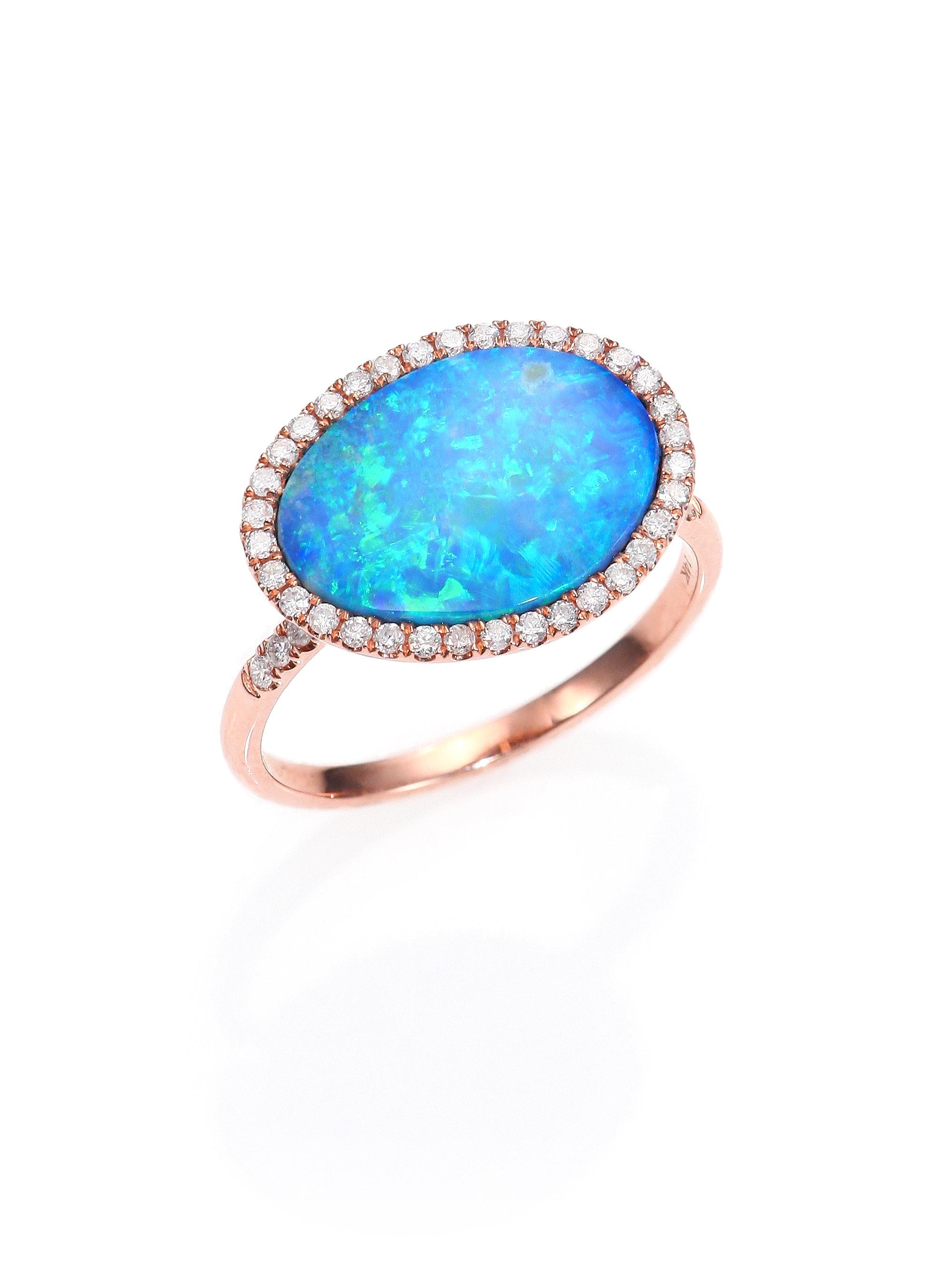 Meira t Opal, Diamond & 14k Rose Gold Ring in Pink (rose