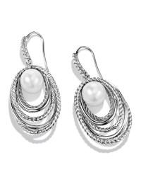 David yurman Pearl Crossover Drop Earrings With Diamonds ...