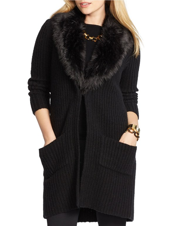 Faux Fur Trimmed Sweater
