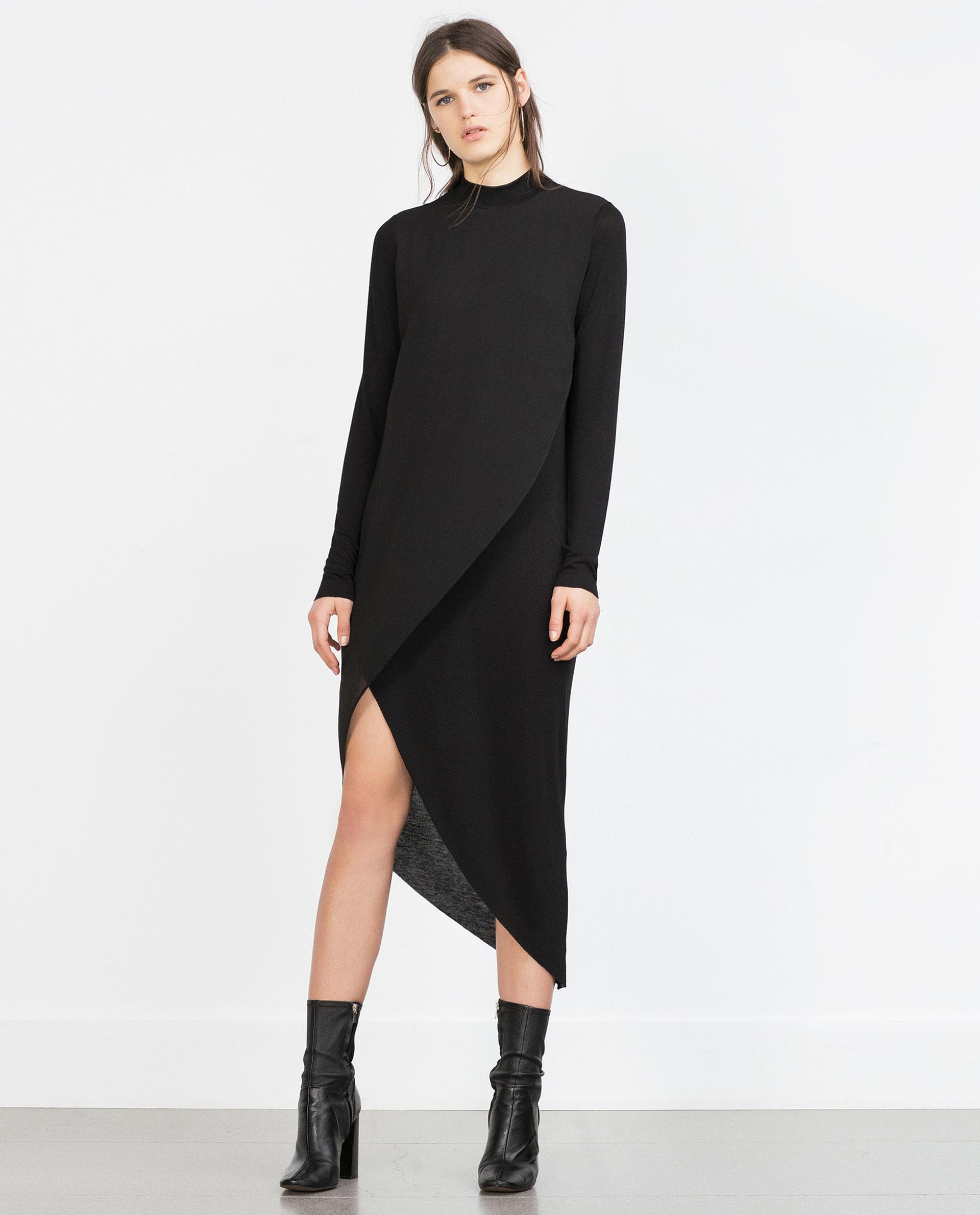 Zara Asymmetric Combination Dress in Black  Lyst