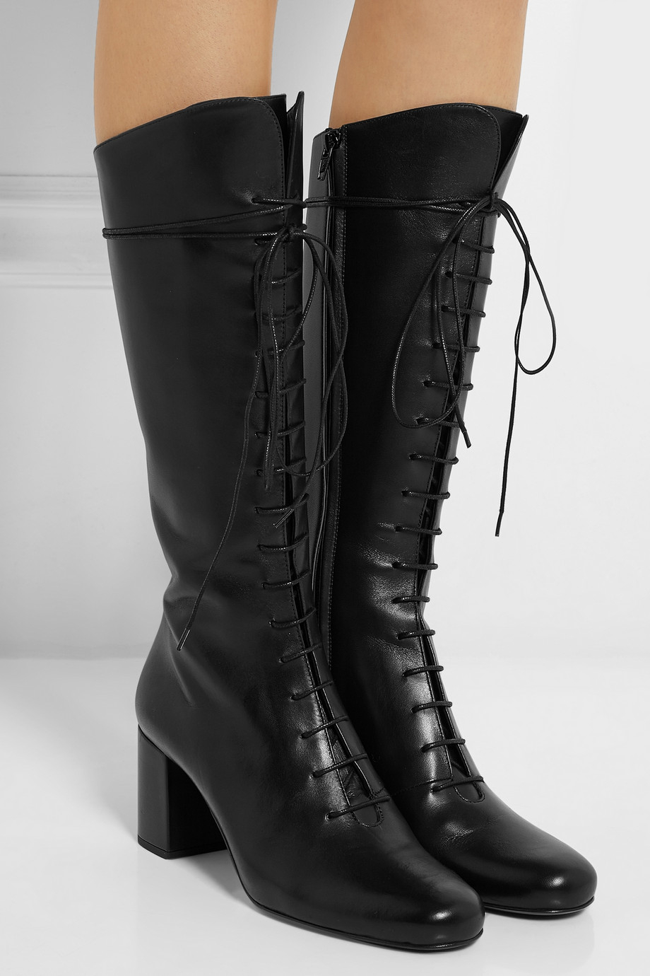 Lyst  Saint Laurent LaceUp Leather Knee Boots in Black
