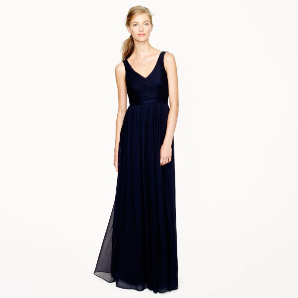 Crew Petite Heidi Long Dress In Silk Chiffon Blue
