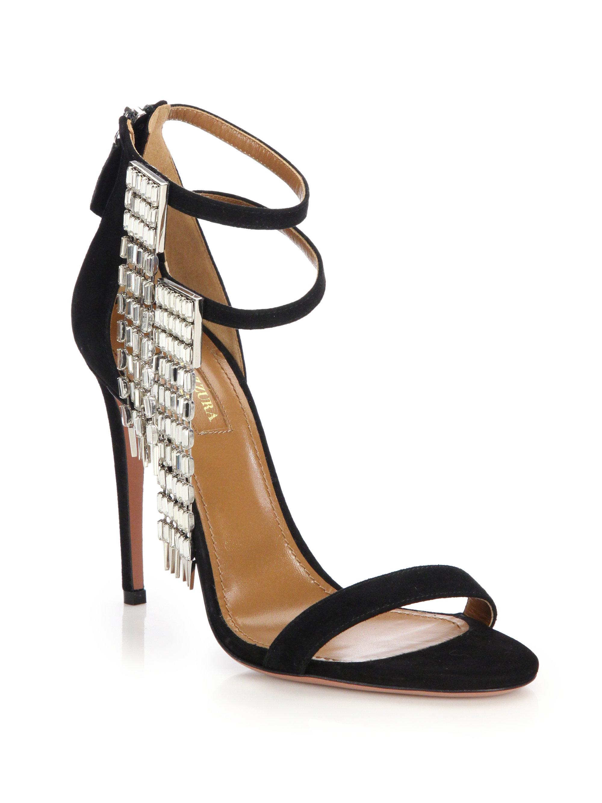 Lyst Aquazzura My Desire Jeweled Fringe Suede Sandals In