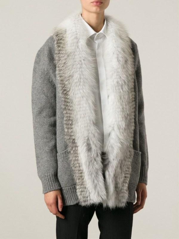 Ermanno Scervino Fur Trimmed Cardigan In Gray Lyst