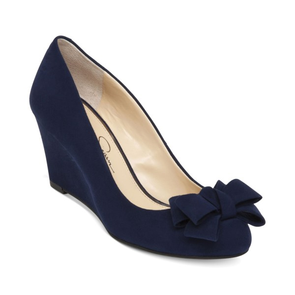 Jessica Simpson Sheryl Bow Wedges In Blue Navy Baby Lyst