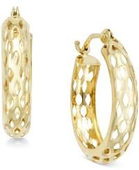 Macy's Diamond-cut Mesh Hoop Earrings In 10k Gold in Gold ...