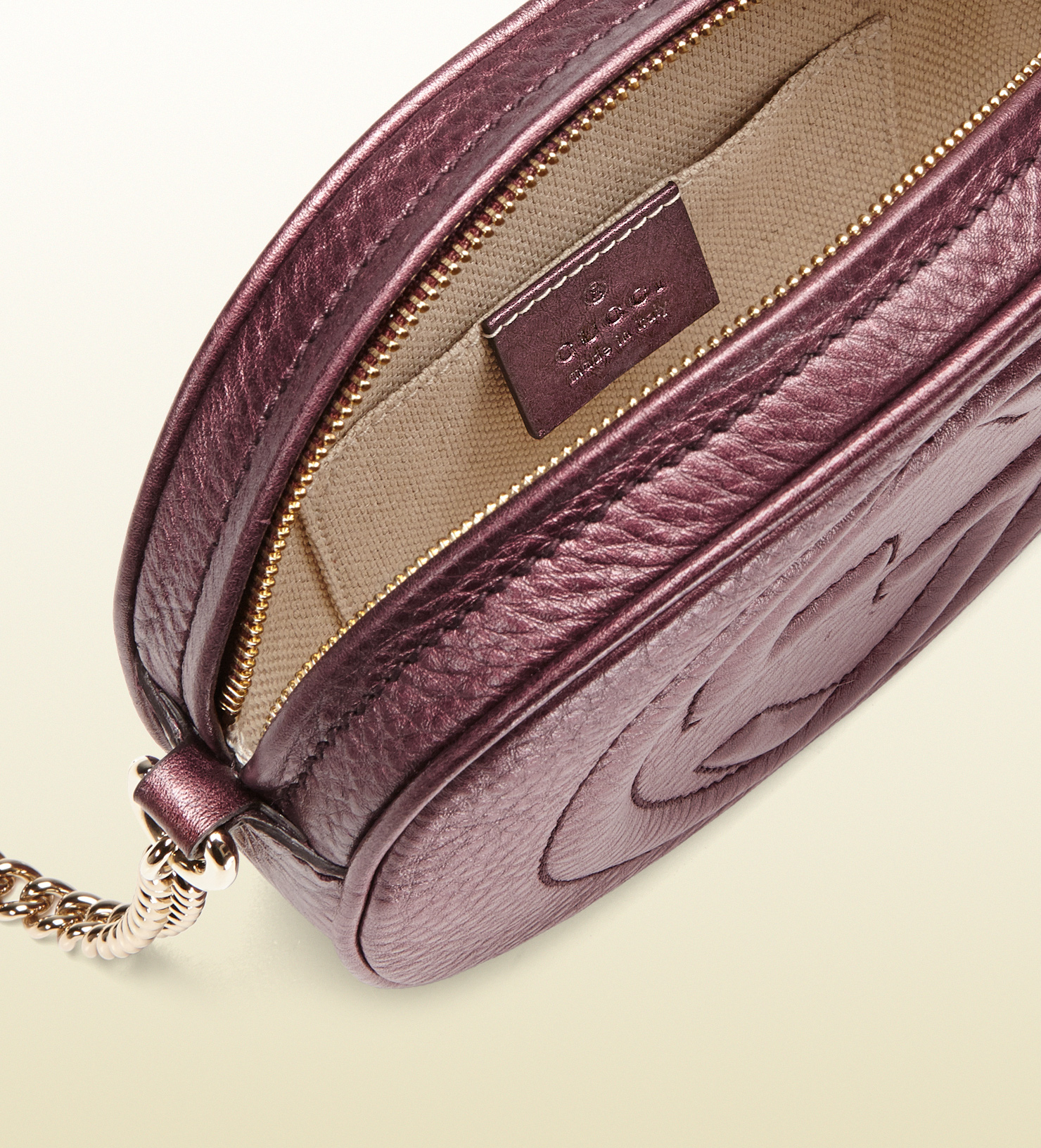 80fa0911797b Gucci Soho Metallic Leather Mini Chain Bag In Purple Lyst Free ...