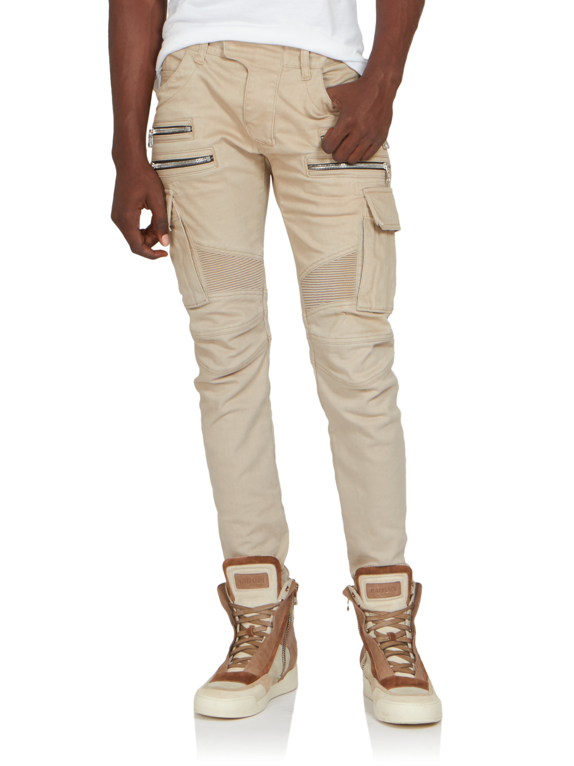 Balmain Biker Cargo Pants in Natural for Men  Lyst