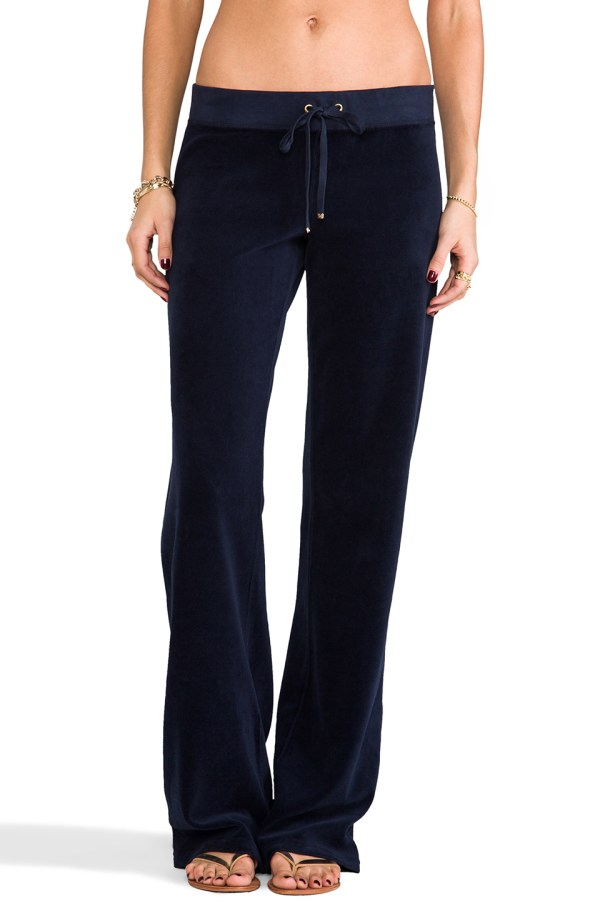 Juicy Couture Classic Velour Original Leg Pants In Blue