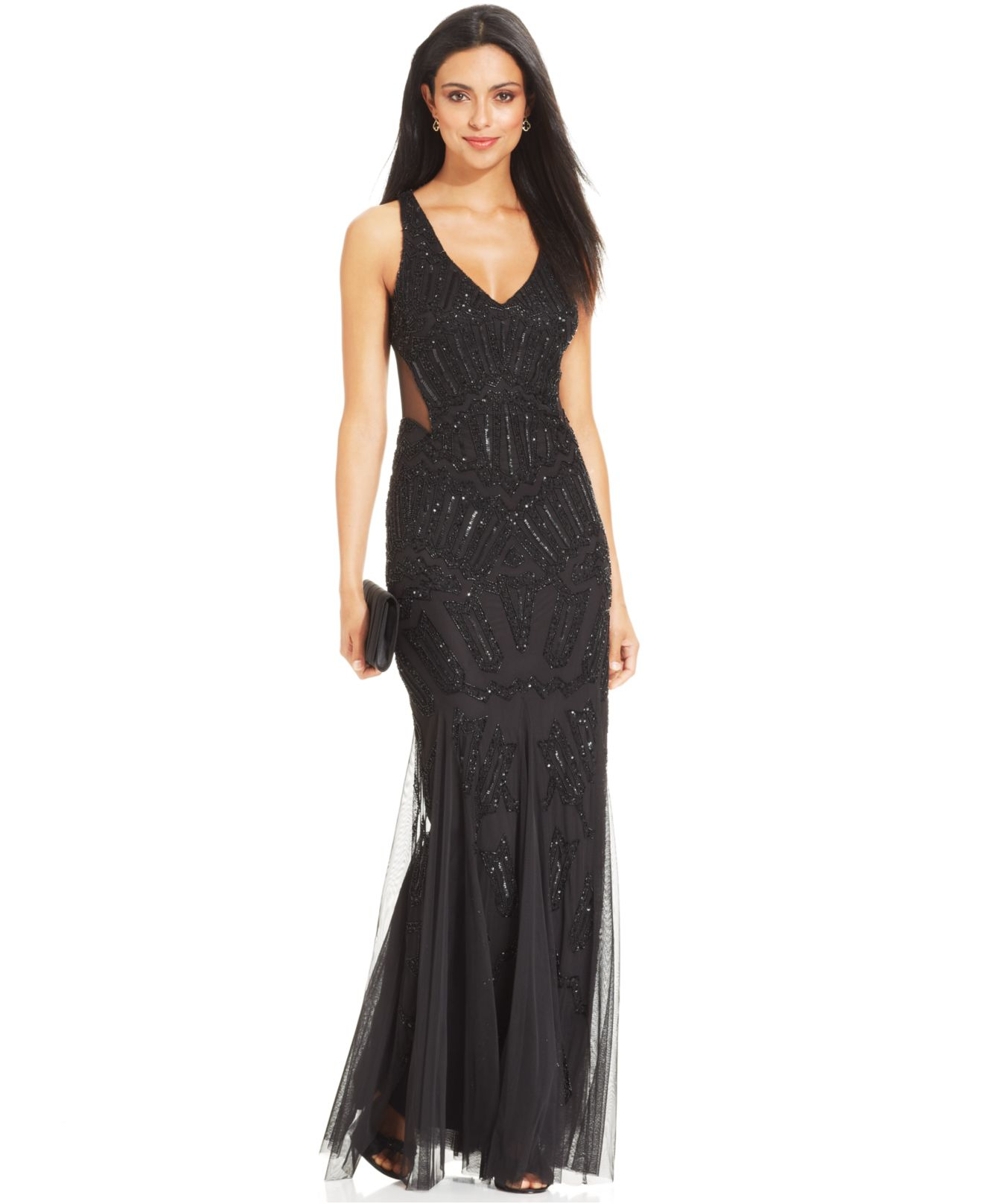 Adrianna papell Sleeveless Beaded Mermaid Gown in Black  Lyst